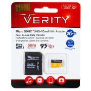 کارت حافظه microSDHC UHS-I وریتی همراه با آداپتور ظرفیت 16 گیگابایت با سرعت 95mb